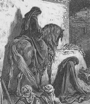 Closeup of Doré's illustration of Nehemiah chapter 2