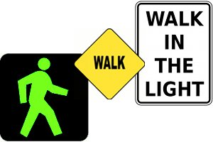 Combination of walker (pedestrian)-related traffic signs