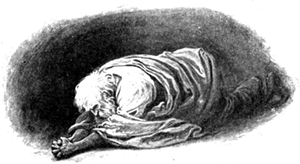 Illustration showing Moses prostrate before God in prayer