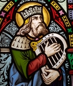 Stained-glass image of King David