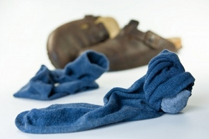 Picture of discarded socks and shoes
