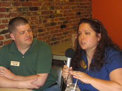 Steve & Kelly Solheim being interviewed at the Smokey Row Café in Oskaloosa, Iowa