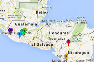 Map of Finest of the Wheat 2014 Central America teaching trip locations