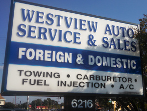 The street sign for Westview Auto Center'